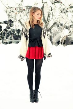White sweater over black shirt & red skirt w/ black tights. Great outfit for the #holidays #hohoho