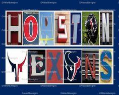Houston Texans Framed Alphabet Photo Art #HoustonTexans