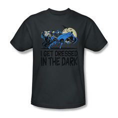 Batman I Get Dressed In The Dark DC Youth Ladies Jr Women Men V-neck T-shirt top #Trevco #GraphicTee