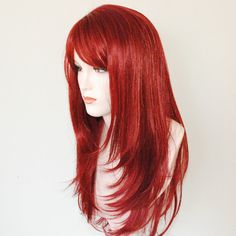 $59.95 WIG-Long cinnamon red layered wig by Stars4Ucollection on Etsy