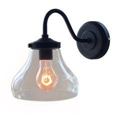 Modern Glass Bell Shade Wall Sconce Lamp Flush Mount MINI Clear Light Fixture