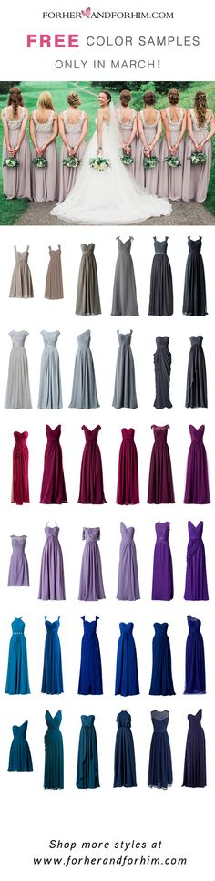 Get 6 FREE color samples before ordering our amazing BM dresses! Flash offer only!