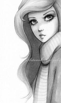 Ilustración chica a lapiz