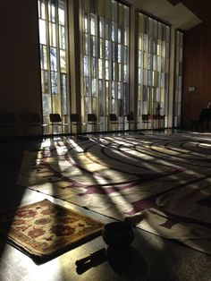 Cedar Lane Unitarian Universalist Church sanctuary in the morning - labyrinth set-up