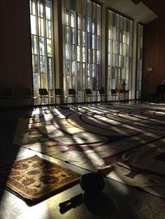Cedar Lane Unitarian Universalist Church sanctuary in the morning - labyrinth set-up
