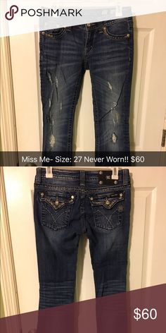 Miss Me jeans for sale!! Never Worn! Size 27! Size 27. Never Worn. Distressed Miss Me jeans Rock Revival Jeans Boot Cut