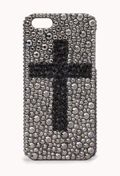Silver & Black studded case with a Cross design.
