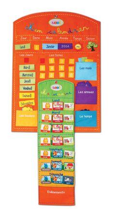 Ce panneau calendrier en tissu brodé de couleur orange permet à l'enfant de s'organiser sa semaine jour par jour. Utilisation recommandée à partir de 3 ans. #LUDI #cestbienjoué !