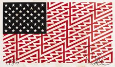 View Star Spangled Shadows Faile Flag by FAILE on artnet. Browse more artworks FAILE from Kumi Contemporary Verso Contemporary. Native Son, Flag Art, Star Spangled, Spangled Banner, Monster, Street Artists, American Flag, Native American, Screen Printing