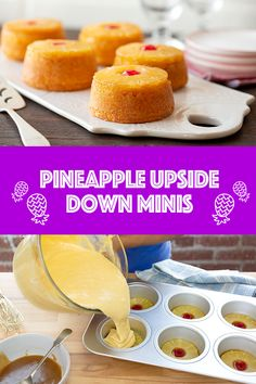 Enjoy an all-time classic with a twist this holiday season! Our Pineapple Upside Down Minis are simple to make. Combine butter and brown sugar, and put into lightly greased muffin cups. Top with a pineapple slice, and pour prepared yellow or pineapple cake mix on top. Bake at 350F for 20-25 minutes and enjoy! Pineapple Cake Mix Recipe, Pineapple Cup, Pineapple Recipes, Cake Mix Cupcakes, Donut Cupcakes, Pie Cake, Cupcake Cakes, Breakfast Dessert, Dessert Bread