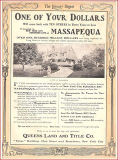 Massapequa in the Literary Digest back in 1906.  A lot more bang for your buck back then!