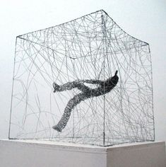 Polish-born artist Barbara Licha's tangled wire sculptures of figures in various poses and states of suspension... via thisiscolossal.com