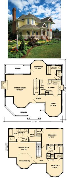 Nice interior and exterior --------- Elevation of Country Farmhouse Victorian House Plan 95647