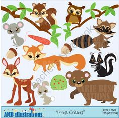 Forest critters clipart 371 from Bestteachertools on TeachersNotebook.com -  (13 pages)  - Forest animals clipart, deer clipart, field mouse clpart, squirrel clipart, owl clipar, fox clipart, skunk clipart, bear clipart, rabbit clipart all in jpegs nad pngs