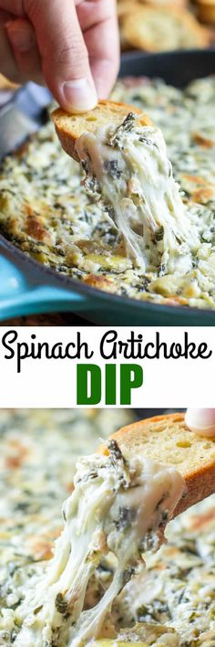 This hot, cheesy, and bubbly Spinach and Artichoke Dip is perfect for any party or gathering. And, it's ready to go in about a half hour. via @culinaryhill