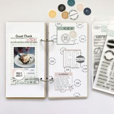 notebook layout by Marsha (FYC Here and There kit, large Journaling Spot pack, and IACB Let's Eat stamp)