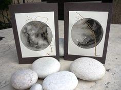 Αbstract greeting cards, original  watercolor  hand painted,gray,gold,on a moon background,FREE SHIPPING