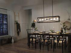 Best Farmhouse Dining Room Lighting Ideas – My Life Spot Farmhouse Dining Room Lighting, Dining Room Light Fixtures, Dining Lighting, Dinning Room Lights, Dinning Room Chandelier, Entryway Chandelier, Black Kitchen Island, Kitchen Island Lighting, Inspiration Design
