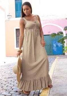 Flounce cami maxi dress plus size