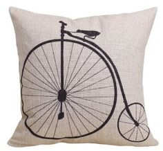 Claybox Decorative 18 x 18 Inch Linen Cloth Pillow Cover Cushion Case, Penny-Farthing Bicycle