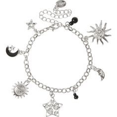 Silver Celestial Charm Bracelet ($35) ❤ liked on Polyvore featuring jewelry, bracelets, charm jewelry, beads & charms, charm bracelet, silver charm bangle and star charms
