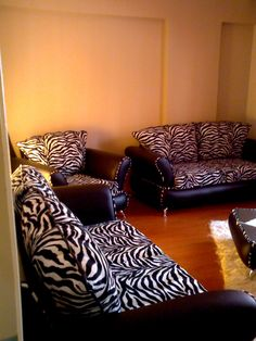 Zebra Decoration - will possibly cover my couch with zebra and/or black