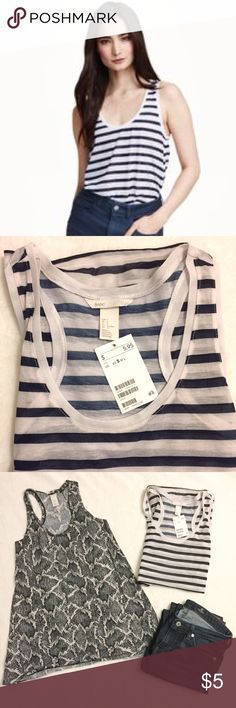 🆕 NWT H&M Racerback Navy White Striped Tank - sm New with Tags navy & white striped racerback tank top, thin material perfect to pair with a cute bralette or strappy tank. Loose fit, same cut & style as the animal print tank in the above photo H&M Tops Tank Tops