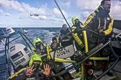 March 31, 2015. Leg 5 to Itajai onboard Team Brunel. Day 13. Celebrating the Cape Horn rounding. Veteran Andrew Cape has crossed it 9 times Stefan Coppers / Team Brunel / Volvo Ocean Race