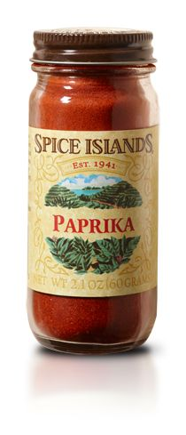 PAPRIKA  Vividly red in color, paprika is made from ground Capsicum chili peppers. Although it doesn't pack the punch you'd expect from a chili. Instead it has a sweet flavor and a delicate aroma that can vary from fruity to sharp.    We source our Spice Islands® paprika domestically, looking for chilies with high extractable color.    Paprika works well in a variety of dishes, but is particularly well suited to seafood and chicken. Stir it into melted lemon butter for an easy dipping sauce.
