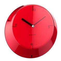 Casa Bugatti Glamour zegary ścienne, kolorowe zagary, kolorowa nowoczesna kuchnia, akcesoria wyposażenie wnętrz, czerwony