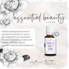 Young Living's Essential Beauty™ Serum for dry skin contains essential oils like Blue Cypress and Lavender, known for their ability to restore the skin's natural moisture balance. Item no. Essential Oils Wholesale, Essential Oils For Face, Cypress Essential Oil, Rose Essential Oil, Young Living Essential Oils, Serum For Dry Skin, Organic Living, Young Living Oils, Organic Beauty