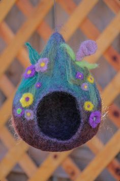 Birdhouse | Lisa's Felted Art - uses Roving and Wet Felting, Needle Felting for the Embellishments