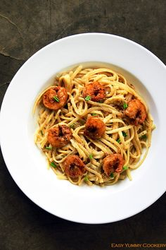 Linguine Alfredo with Cajun Shrimp