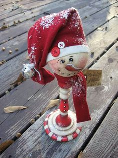 Painted candy cane Snowman from wood candlestick.