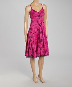 Look what I found on #zulily! Fuchsia & Purple Floral Surplice Dress by Aryeh #zulilyfinds