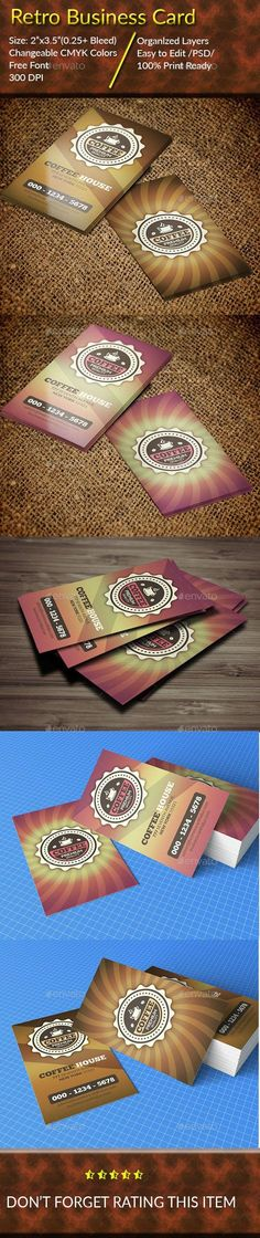 Buy Retro Business Card by faijur on GraphicRiver. This is a Retro Business Card . FEATURES: Supper Easy to edit. 4 PSD files included (Front and Back). Retro Design, Vintage Designs, Print Design, Retro Vintage, Graphic Design, Print Templates, Card Templates, Vintage Business Cards, Business Card Design