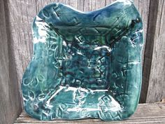 Funky Teal Dish by SoulfulArt on Etsy, $22.00