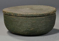 Sailor-made Green Covered Basket, 19th century, finely woven coiled cane basket with slightly domed lid, ht. 6, dia. 12 3/4 in.