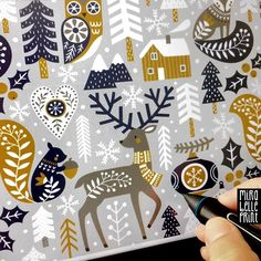 """© Mira Garressus on Instagram: """"Creating a scandinavian style pattern for the upcoming « Folk Art Tea Towel » #spoonflowerchallenge. I want to use a reduced color palette,…"""""""
