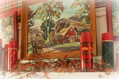 Love this rustic Fall shot of old thermoses on a mantle with bittersweet and old barn painting! Vintage Picnic, Vintage Cabin, Tartan, Fall Fireplace, Lakeside Cottage, Lodge Style, Lodge Decor, Woodland Theme, Down South