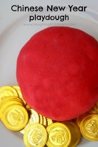 Chinese New Year red playdough and dragon craft