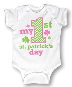 Another great find on #zulily! White & Green 'My 1st St. Patrick's Day' Bodysuit - Infant #zulilyfinds