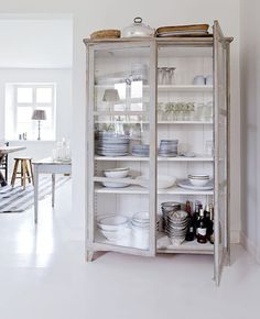Gut your old wardrobe that stands alone in the garage and with a fresh coat of paint, you can now achieve the French provincial look whilst creating oodles of storage potential for your kitchen!