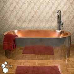 """69"""" Loren Polished Stainless Steel Freestanding Air Bath Tub - Polished Copper Interior"""
