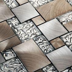 metallic mosaic tiles brushed stainless steel backsplash crystal glass tile ga81 metal and glass blend mosaic - Glass Tile Castle Ideas