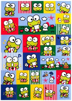 Sanrio Keroppi Stripes Sticker Sheet http://shop.kawaiidepot.com