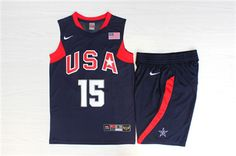 c27166de6 Team USA Basketball 15 Carmelo Anthony Navy Nike Stitched Jersey(With  Shorts)