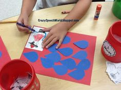 From CSW: Firefighter holding a hose on the corner of a red piece of paper...then give students little water drops cut from construction paper to write or draw speech words on.