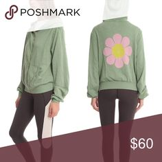 Wildfox Malibu flower power jacket in green Adorable and soft zip up hoodie jacket. Green. Large flower on back. Wildfox Jackets & Coats