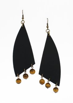 Long leather earrings - tigers eye earrings - dramatic earrings